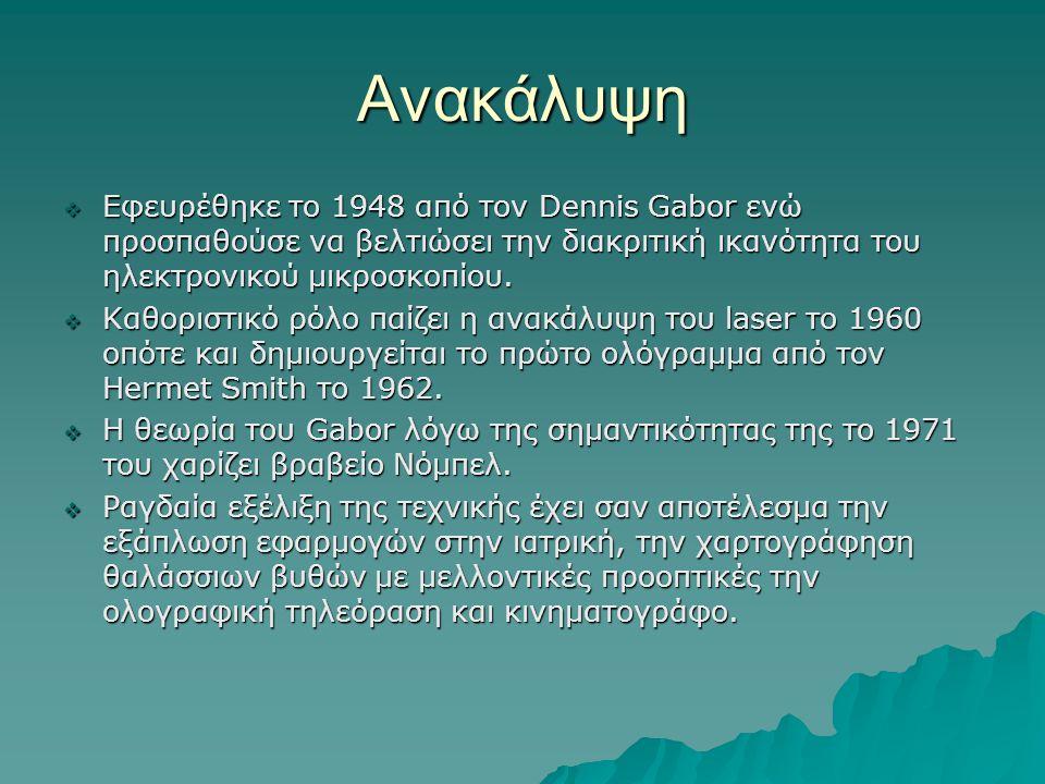 Ανακάλυψη Εφευρέθηκε το 1948 από τον Dennis Gabor ενώ προσπαθούσε να βελτιώσει την διακριτική ικανότητα του ηλεκτρονικού μικροσκοπίου.