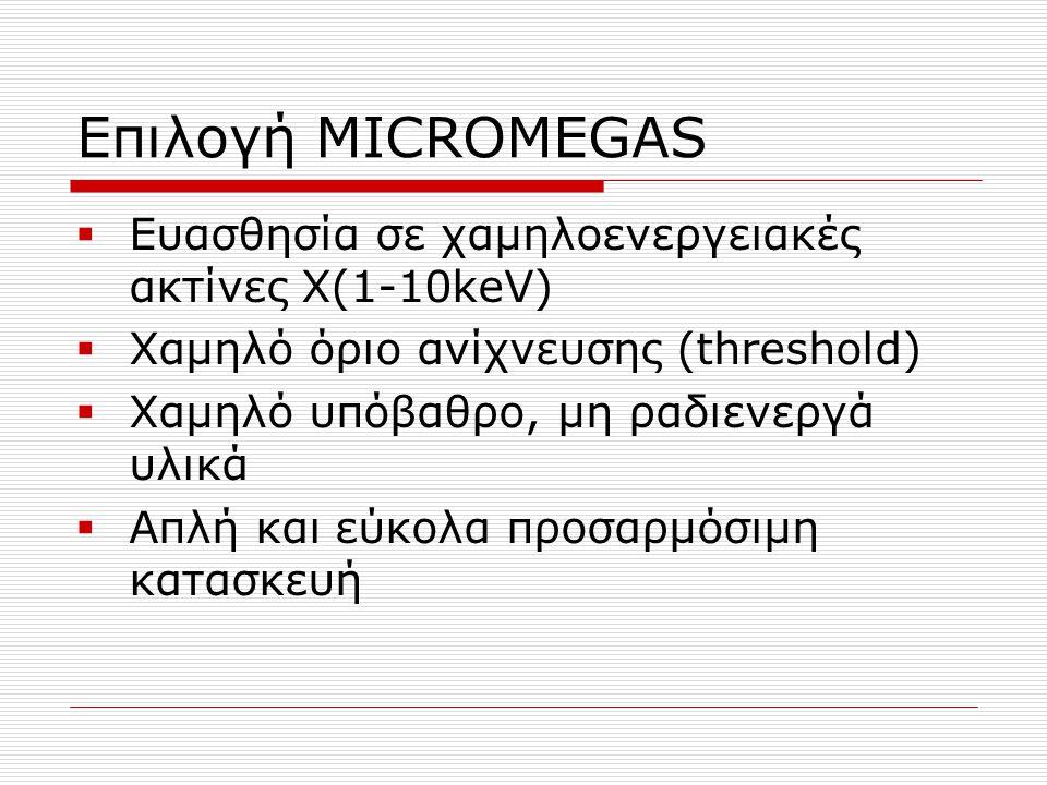 Επιλογή MICROMEGAS Ευασθησία σε χαμηλοενεργειακές ακτίνες Χ(1-10keV)