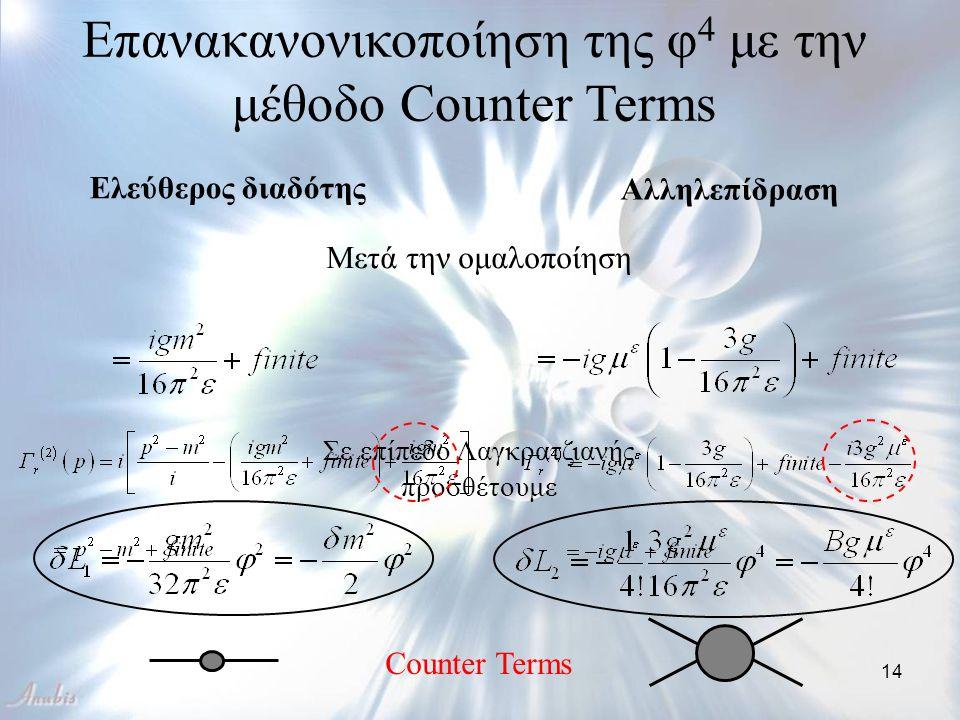 Επανακανονικοποίηση της φ4 με την μέθοδο Counter Terms