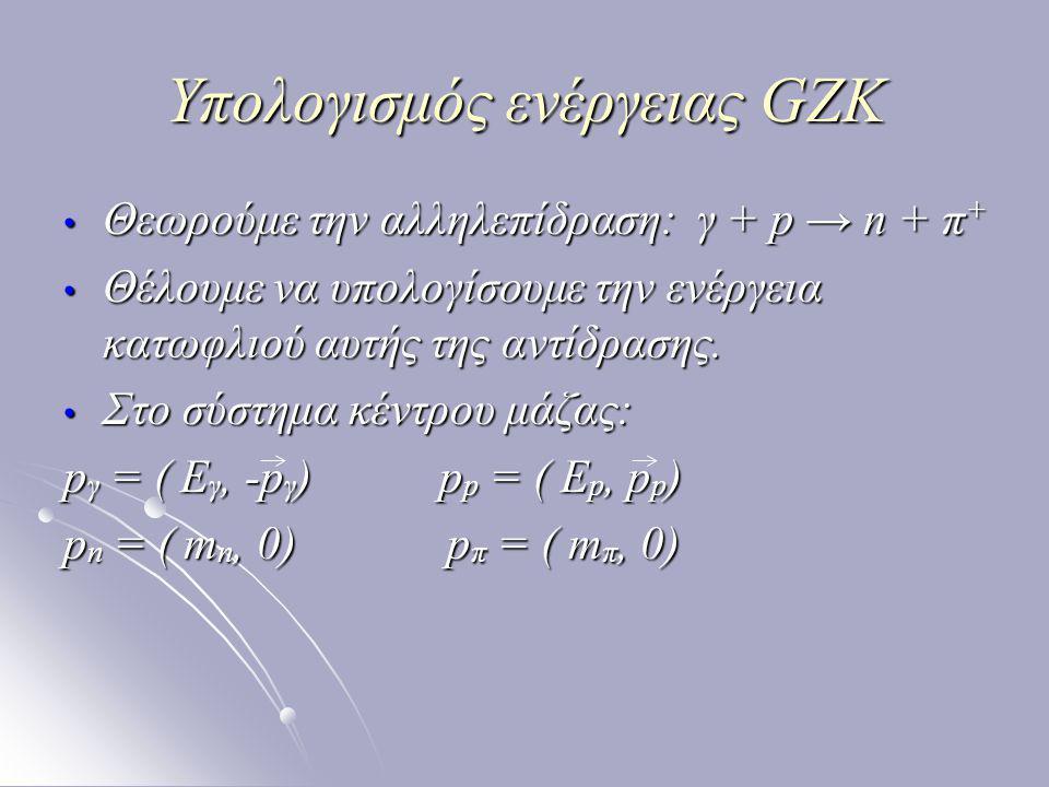 Υπολογισμός ενέργειας GZK