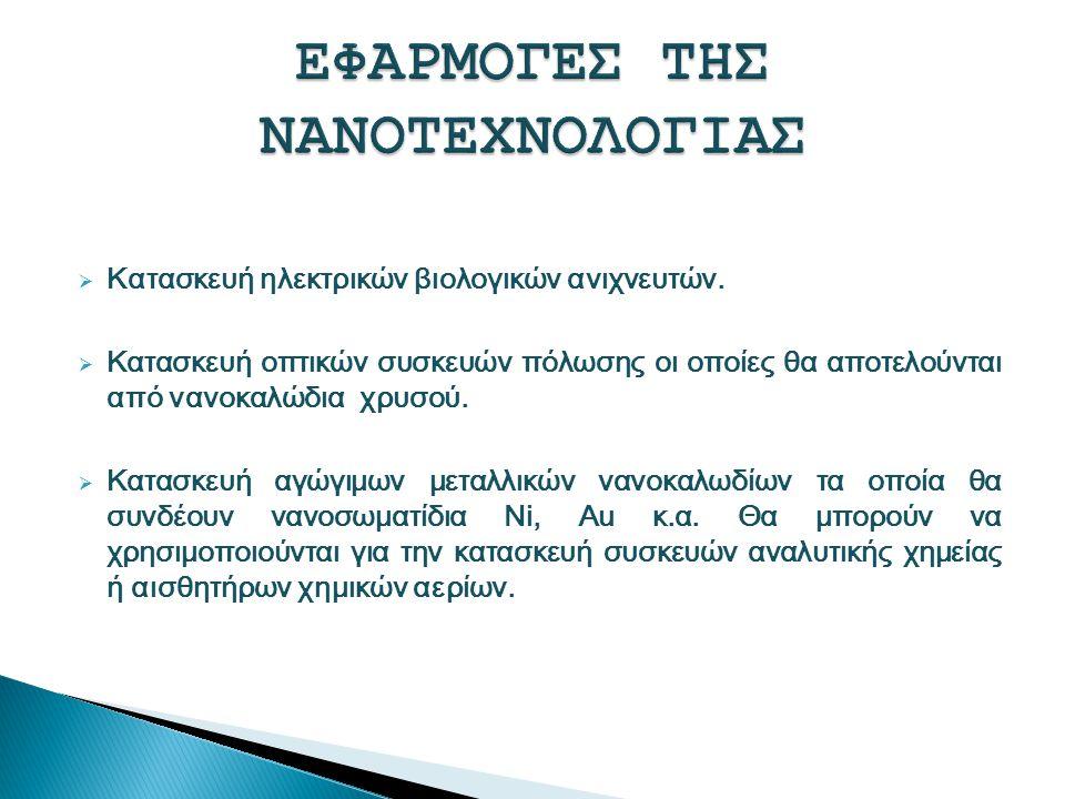 ΕΦΑΡΜΟΓΕΣ ΤΗΣ ΝΑΝΟΤΕΧΝΟΛΟΓΙΑΣ