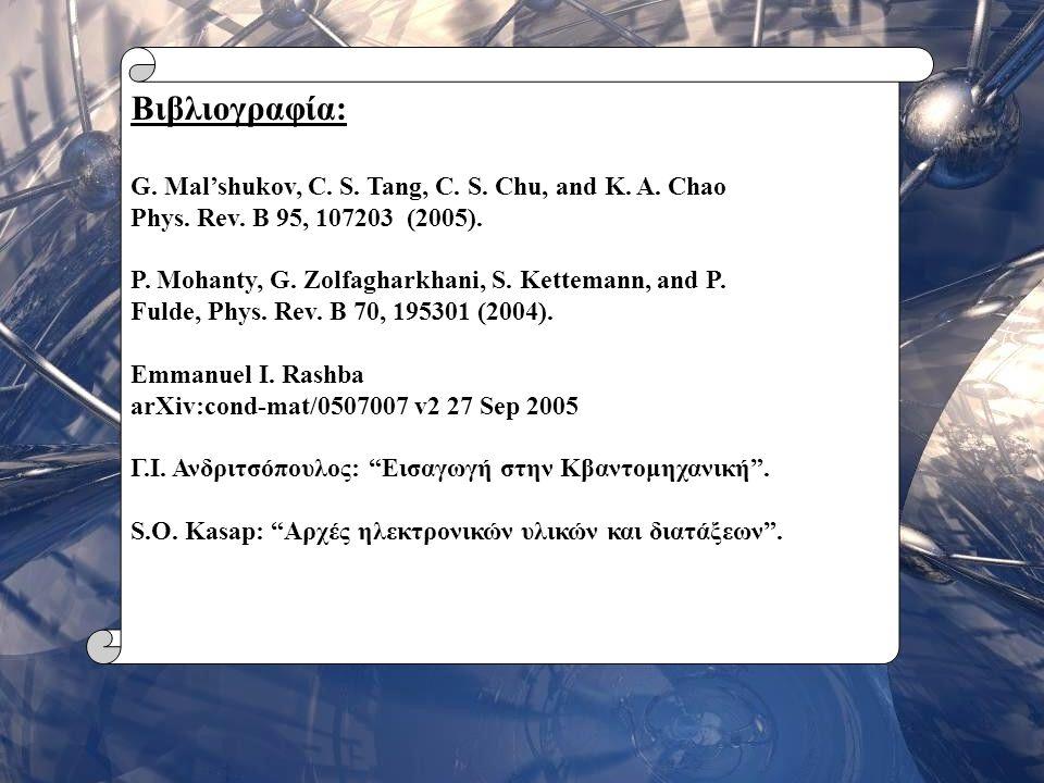 Βιβλιογραφία: G. Mal'shukov, C. S. Tang, C. S. Chu, and K. A. Chao