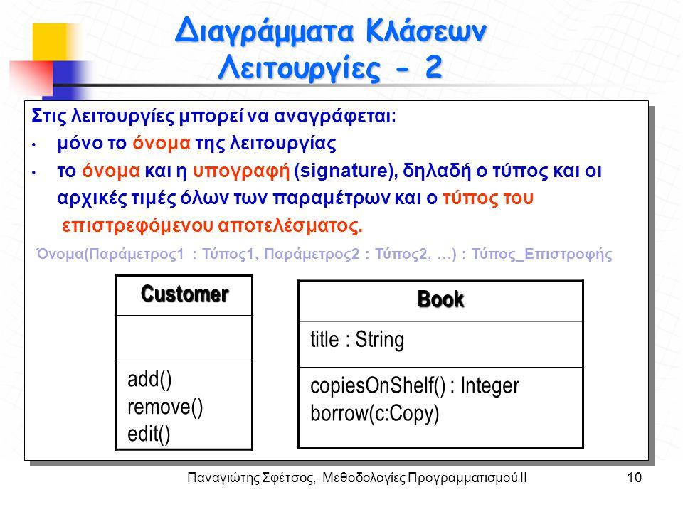 Διαγράμματα Κλάσεων Λειτουργίες - 2