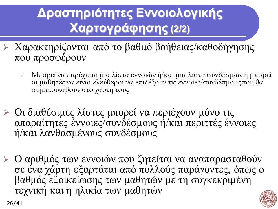 Δραστηριότητες Εννοιολογικής Χαρτογράφησης (2/2)
