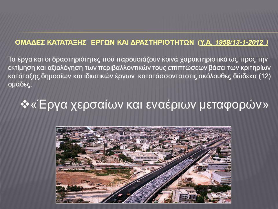 ΟΜΑΔΕΣ ΚΑΤΑΤΑΞΗΣ ΕΡΓΩΝ ΚΑΙ ΔΡΑΣΤΗΡΙΟΤΗΤΩΝ (Y.A. 1958/13-1-2012 )