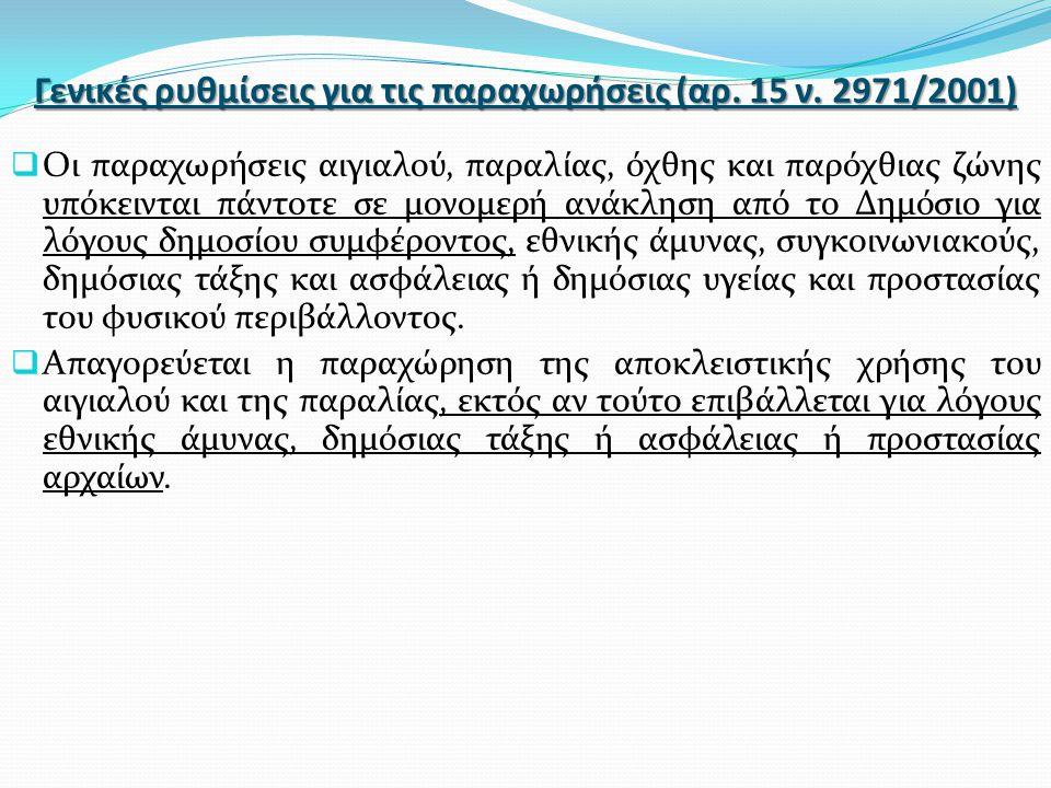 Γενικές ρυθμίσεις για τις παραχωρήσεις (αρ. 15 ν. 2971/2001)