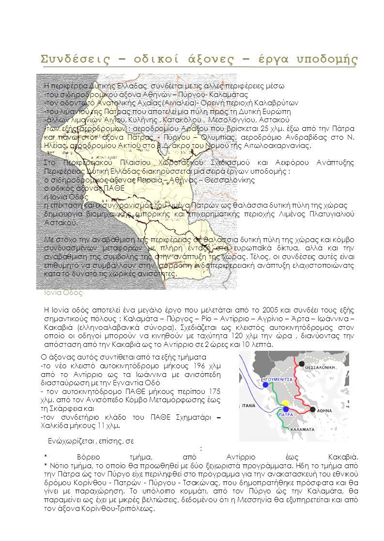 Συνδέσεις – οδικοί άξονες – έργα υποδομής