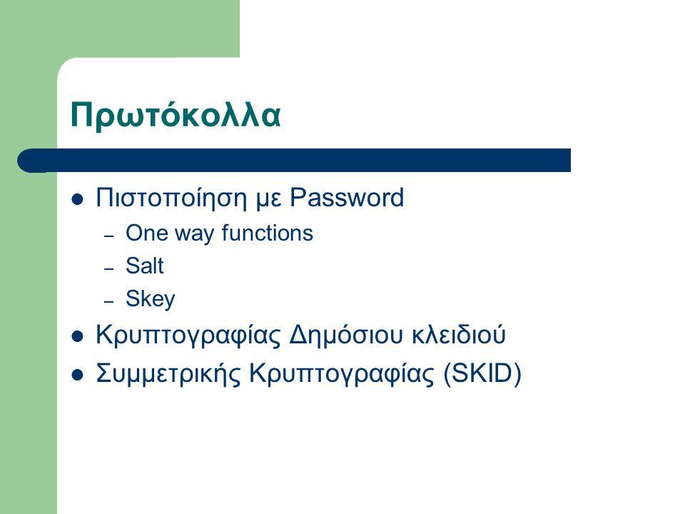 Πρωτόκολλα Πιστοποίηση με Password Κρυπτογραφίας Δημόσιου κλειδιού