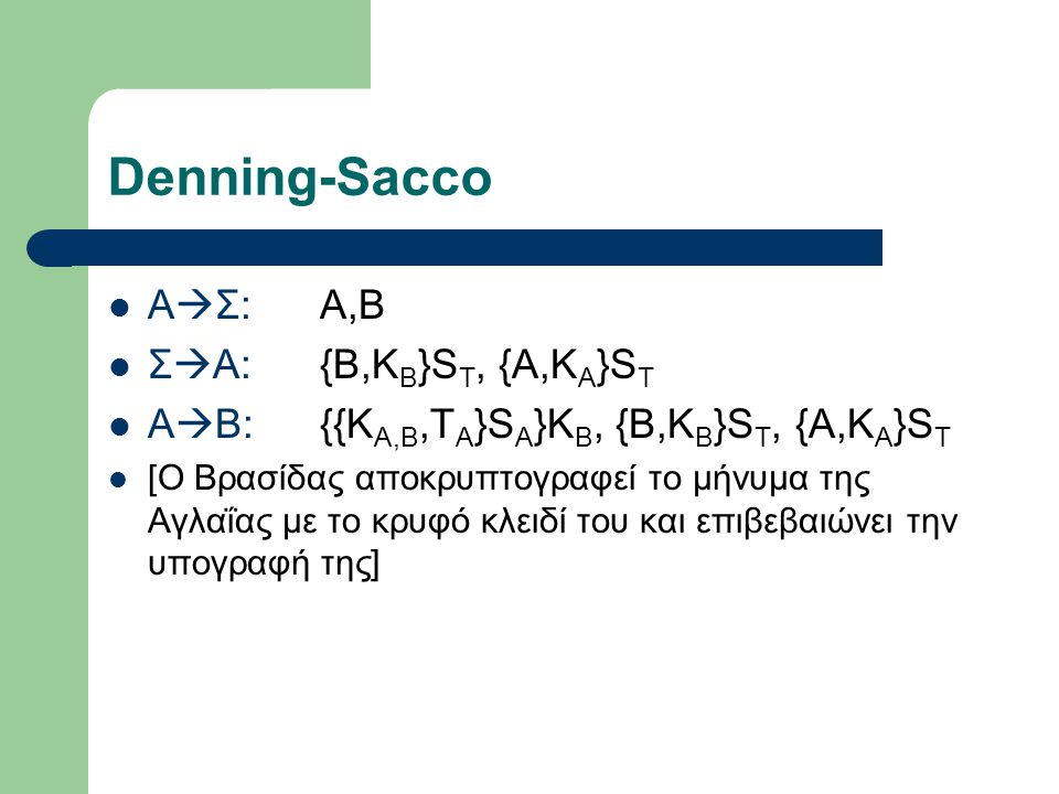 Denning-Sacco ΑΣ: A,B ΣA: {B,KB}ST, {A,KA}ST