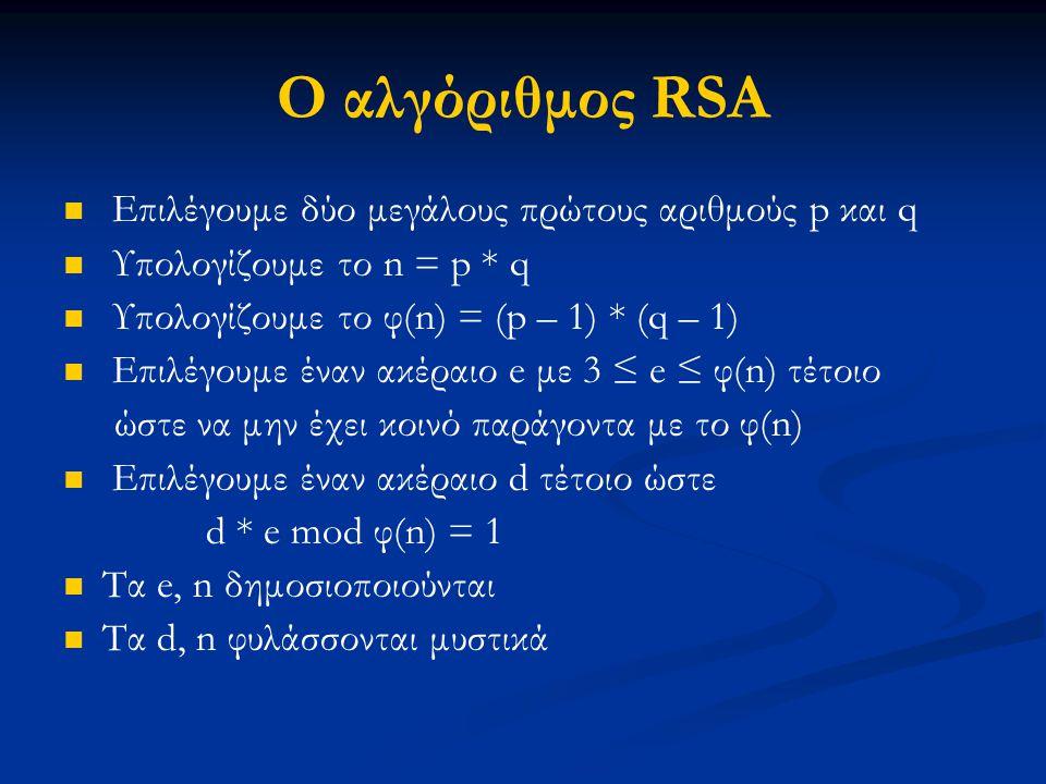 Ο αλγόριθμος RSA Επιλέγουμε δύο μεγάλους πρώτους αριθμούς p και q