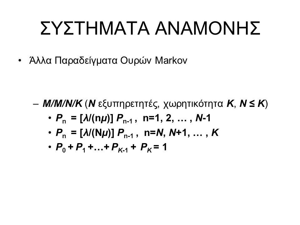 ΣΥΣΤΗΜΑΤΑ ΑΝΑΜΟΝΗΣ Άλλα Παραδείγματα Ουρών Markov