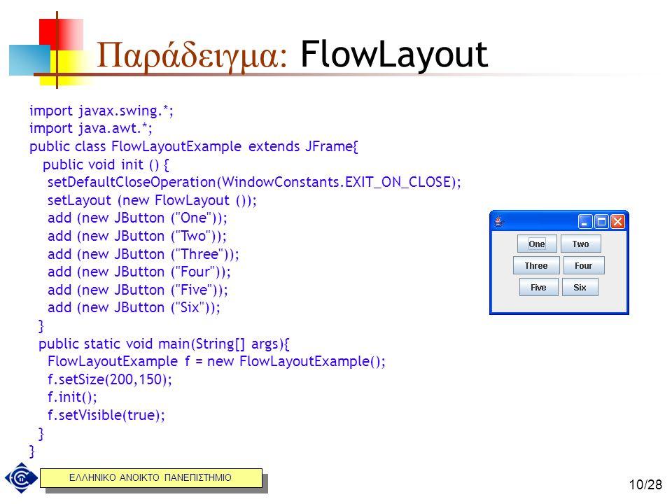 Παράδειγμα: FlowLayout