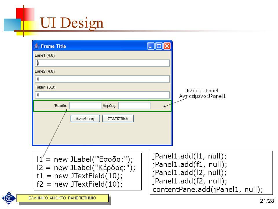UI Design jPanel1.add(l1, null); l1 = new JLabel( Έσοδα: );