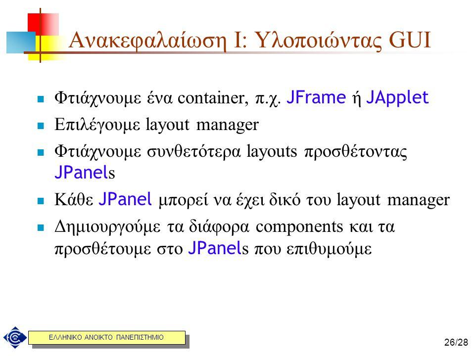 Ανακεφαλαίωση I: Υλοποιώντας GUI