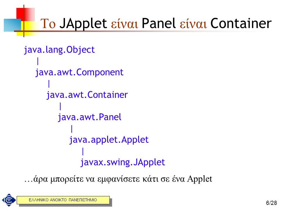 Το JApplet είναι Panel είναι Container