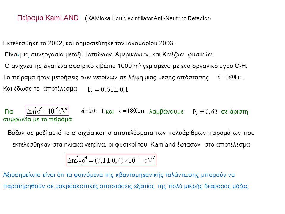 Πείραμα KamLAND (KAMioka Liquid scintillator Anti-Neutrino Detector)