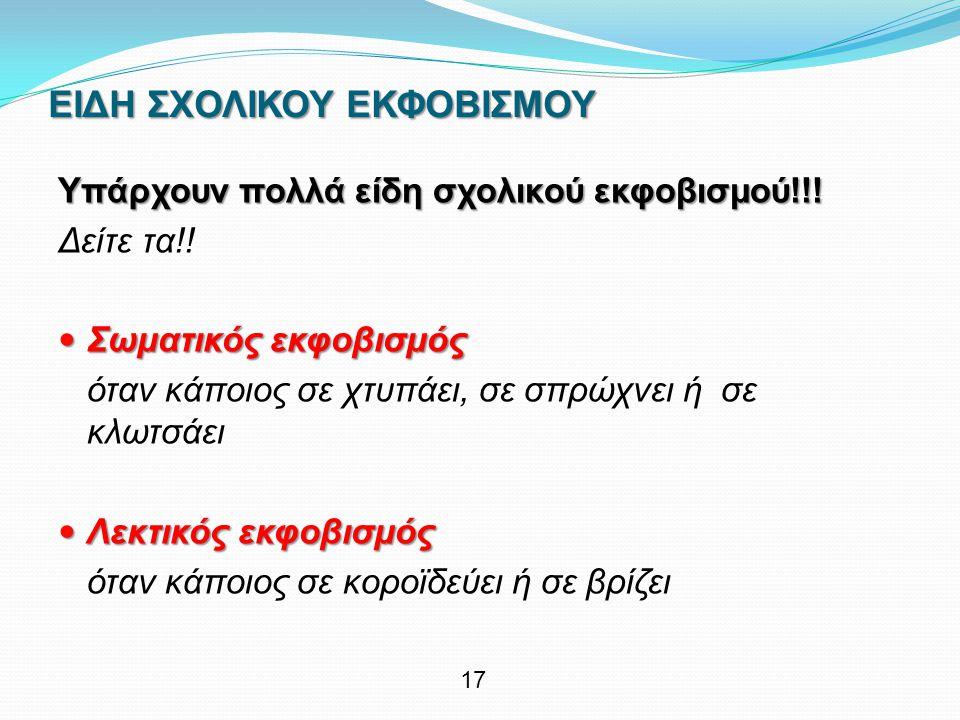ΕΙΔΗ ΣΧΟΛΙΚΟΥ ΕΚΦΟΒΙΣΜΟΥ