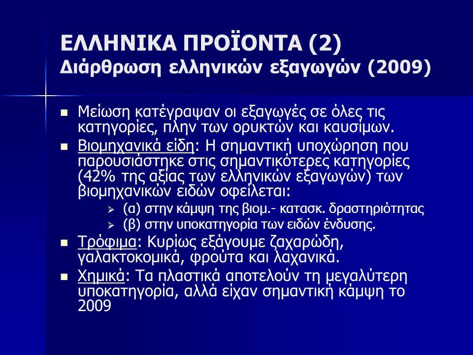 ΕΛΛΗΝΙΚΑ ΠΡΟΪΟΝΤΑ (2) Διάρθρωση ελληνικών εξαγωγών (2009)