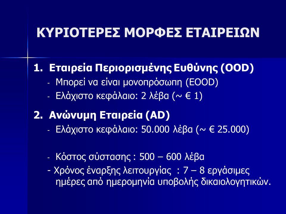 ΚΥΡΙΟΤΕΡΕΣ ΜΟΡΦΕΣ ΕΤΑΙΡΕΙΩΝ