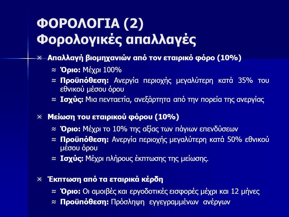 ΦΟΡΟΛΟΓΙΑ (2) Φορολογικές απαλλαγές