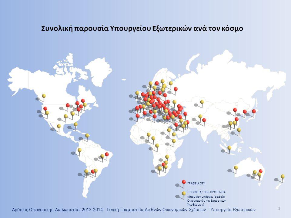 Συνολική παρουσία Υπουργείου Εξωτερικών ανά τον κόσμο