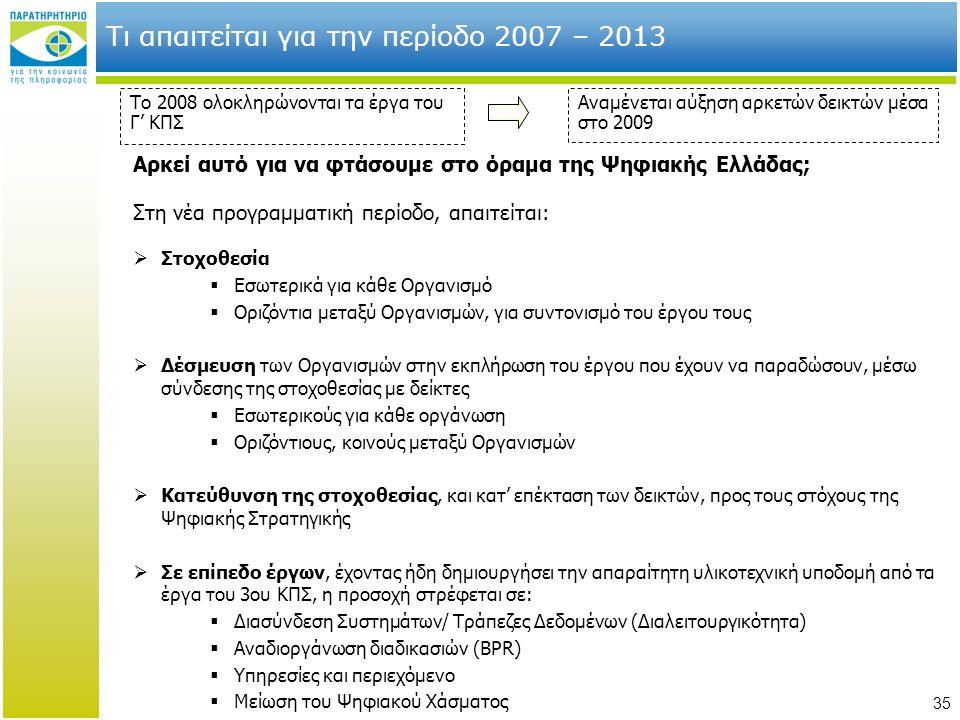 Τι απαιτείται για την περίοδο 2007 – 2013