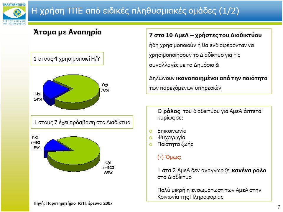 Η χρήση ΤΠΕ από ειδικές πληθυσμιακές ομάδες (1/2)