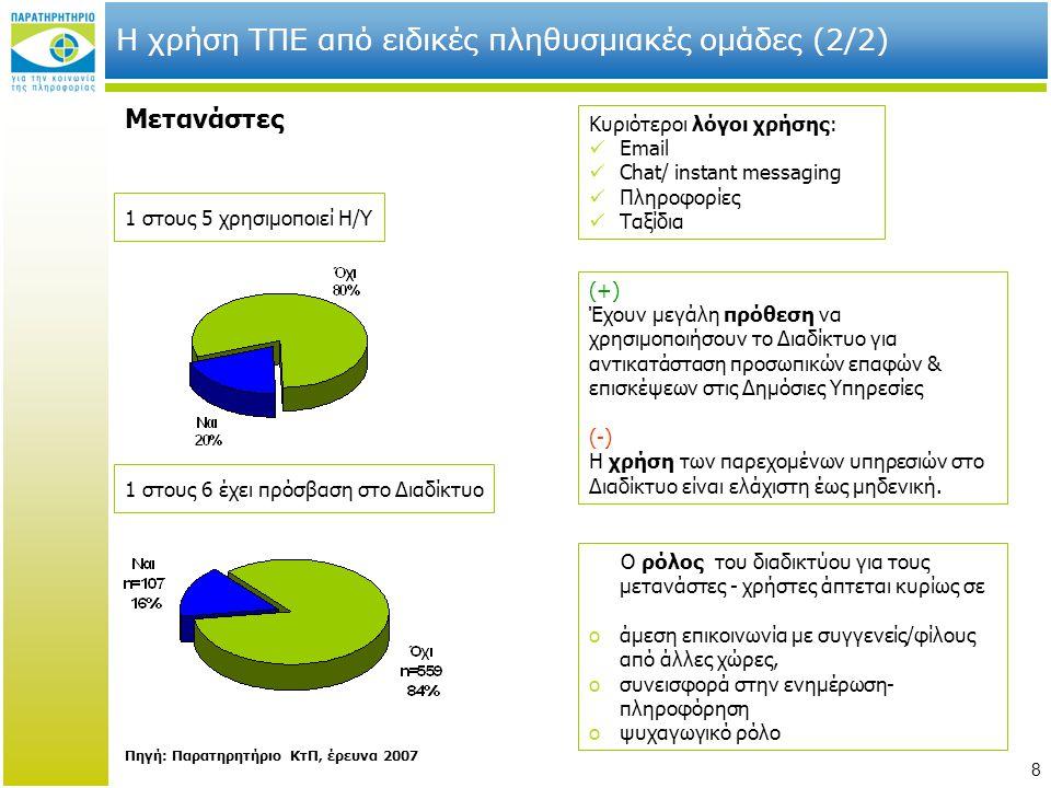 Η χρήση ΤΠΕ από ειδικές πληθυσμιακές ομάδες (2/2)