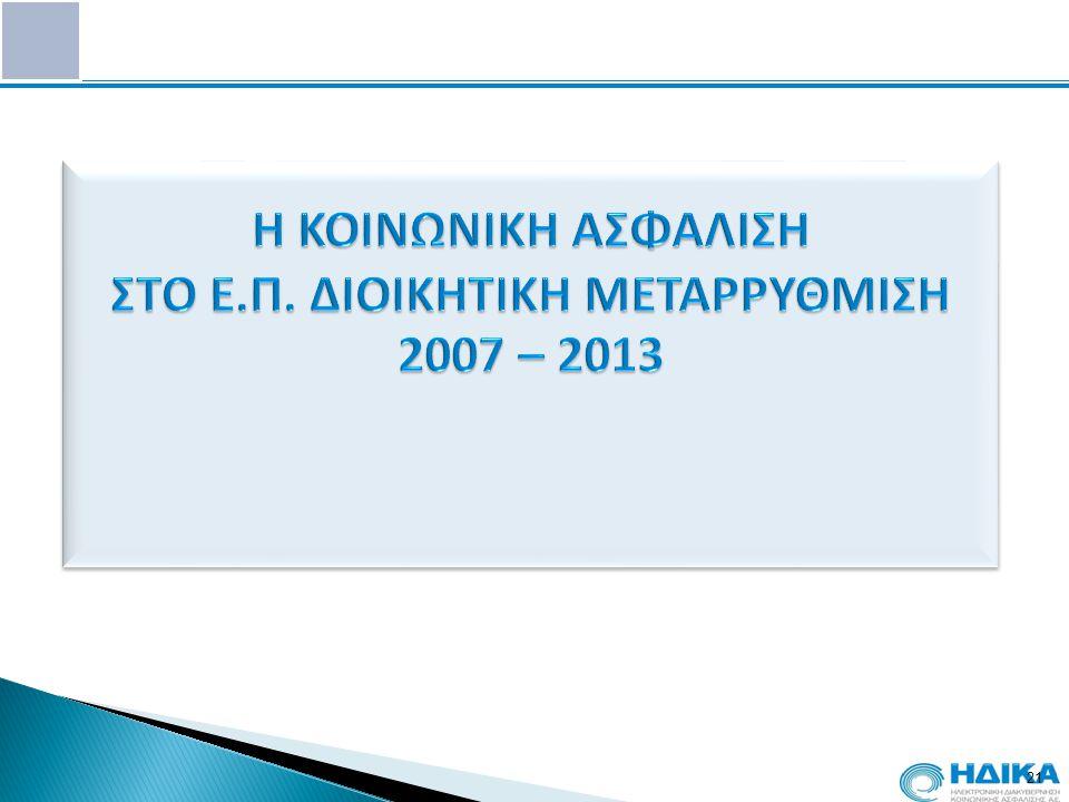 Η ΚΟΙΝΩΝΙΚΗ ΑΣΦΑΛΙΣΗ ΣΤΟ Ε.Π. ΔΙΟΙΚΗΤΙΚΗ ΜΕΤΑΡΡΥΘΜΙΣΗ 2007 – 2013