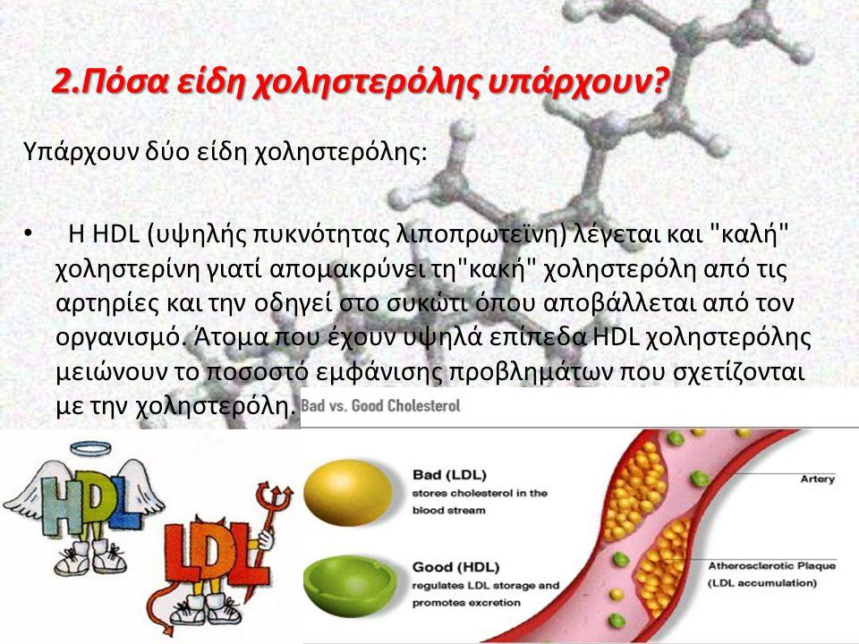 2.Πόσα είδη χοληστερόλης υπάρχουν