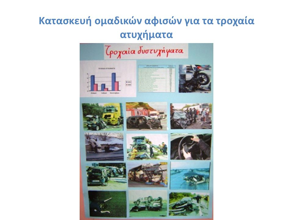 Κατασκευή ομαδικών αφισών για τα τροχαία ατυχήματα