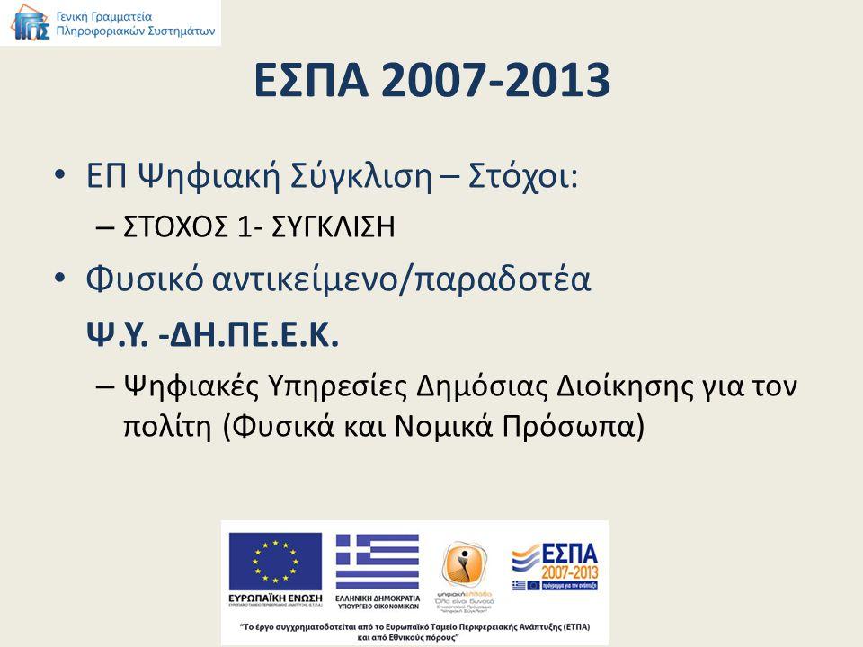 ΕΣΠΑ 2007-2013 ΕΠ Ψηφιακή Σύγκλιση – Στόχοι: