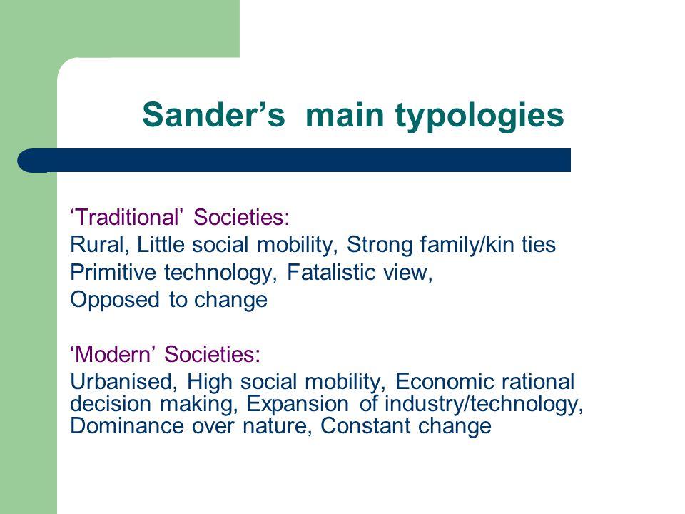 Sander's main typologies
