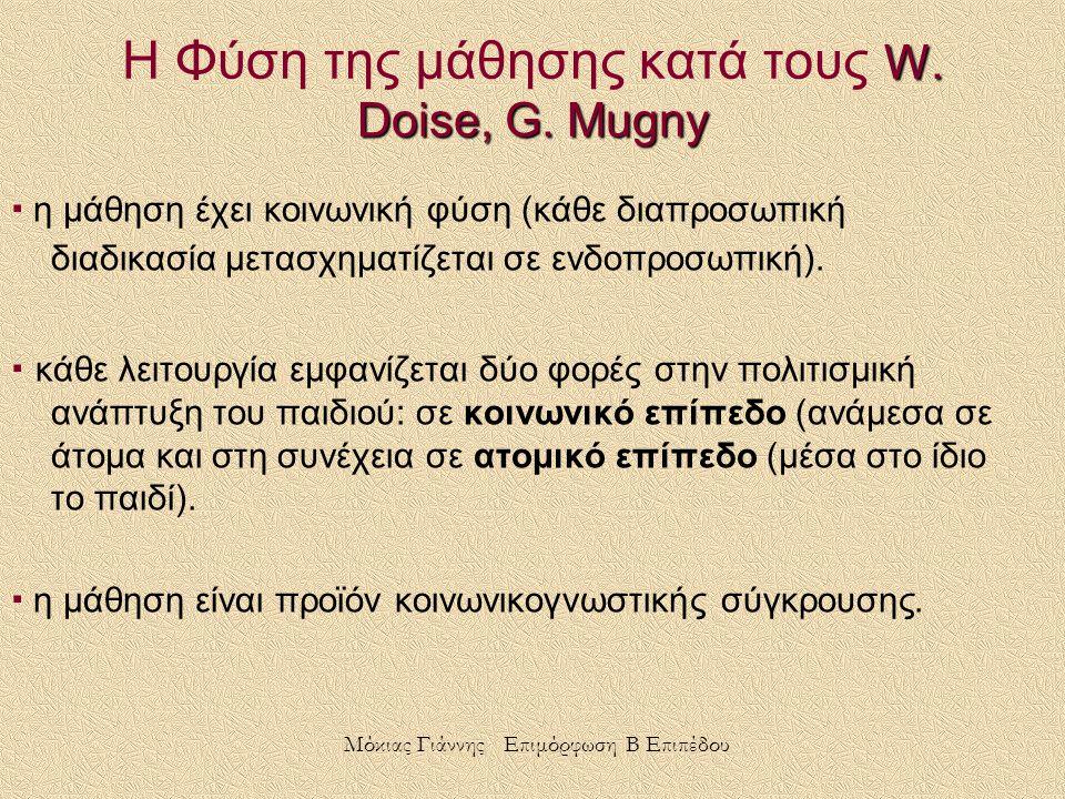 Η Φύση της μάθησης κατά τους W. Doise, G. Mugny
