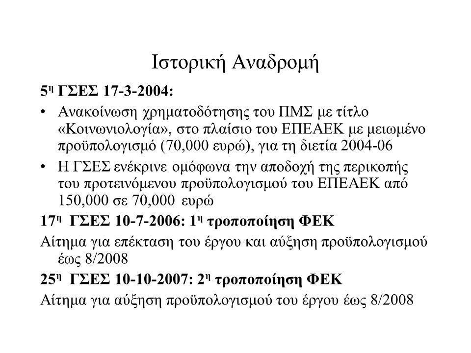 Ιστορική Αναδρομή 5η ΓΣΕΣ 17-3-2004: