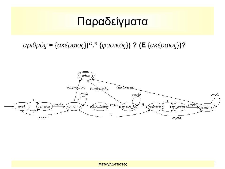 αριθμός = {ακέραιος}( . {φυσικός}) (E {ακέραιος})
