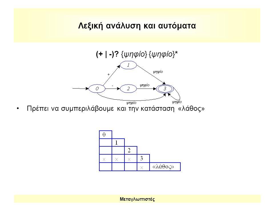 Λεξική ανάλυση και αυτόματα