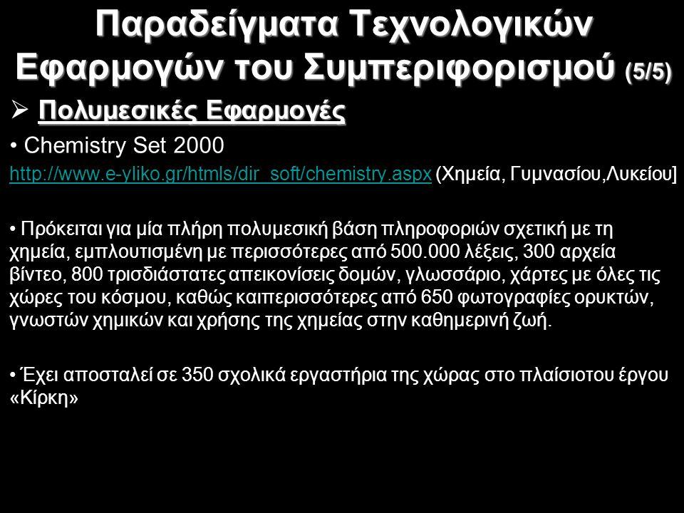 Παραδείγματα Τεχνολογικών Εφαρμογών του Συμπεριφορισμού (5/5)