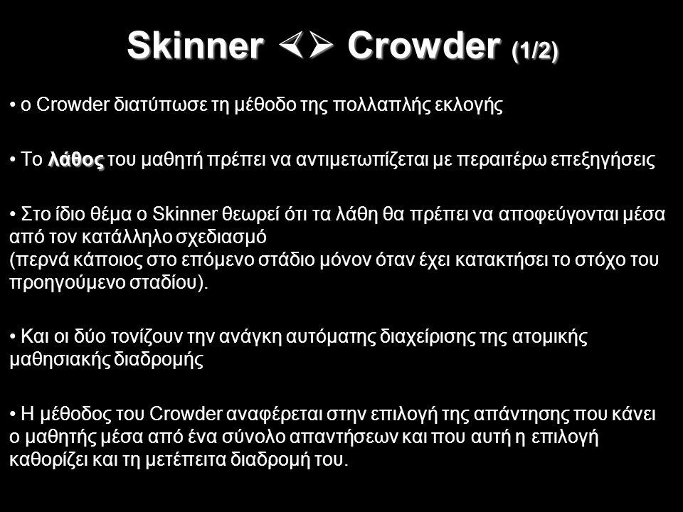 Skinner  Crowder (1/2) ο Crowder διατύπωσε τη μέθοδο της πολλαπλής εκλογής. Tο λάθος του μαθητή πρέπει να αντιμετωπίζεται με περαιτέρω επεξηγήσεις.