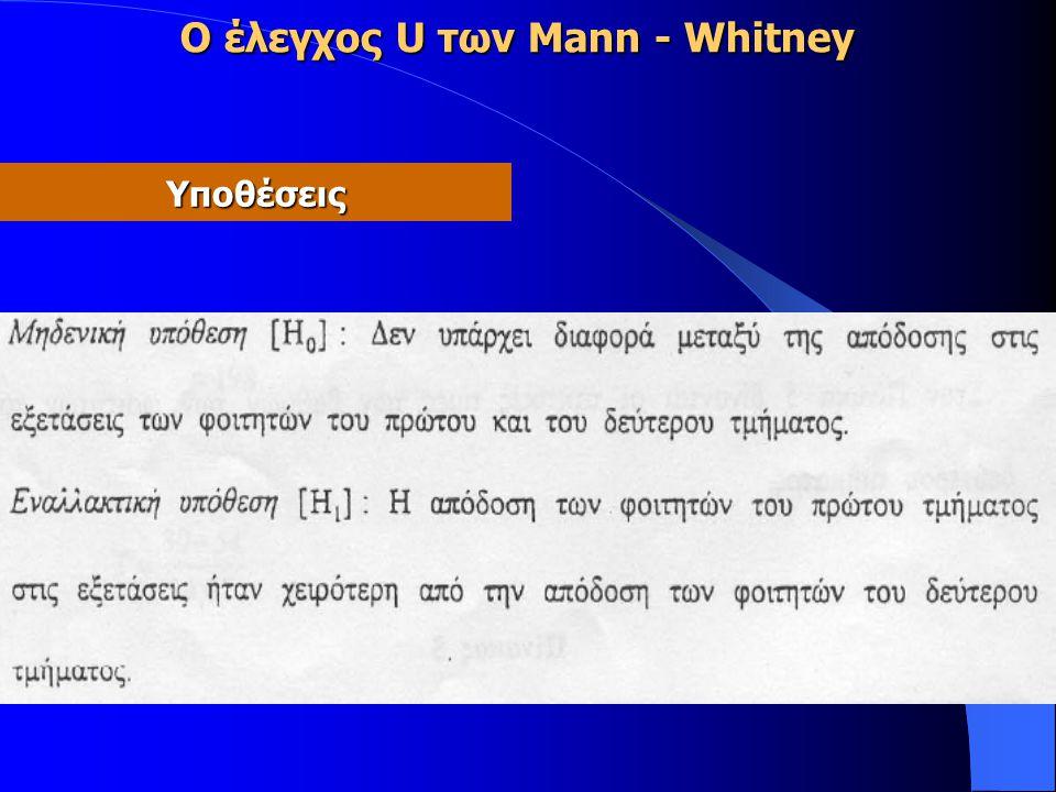 Ο έλεγχος U των Mann - Whitney