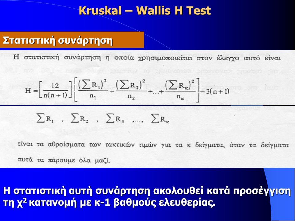 Kruskal – Wallis H Test Στατιστική συνάρτηση