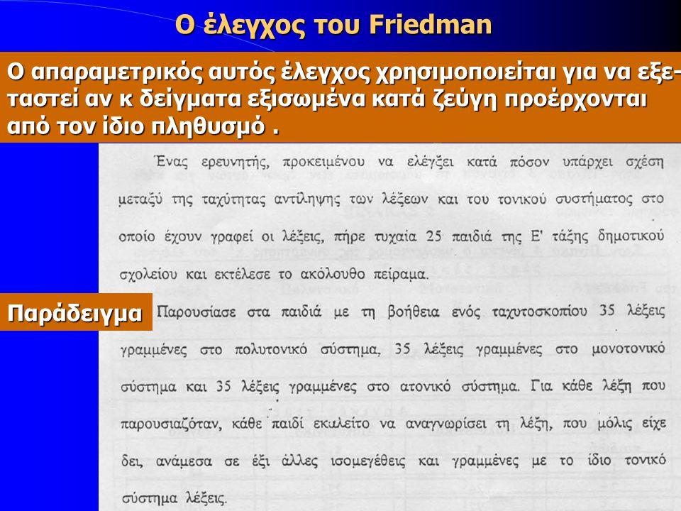 Ο έλεγχος του Friedman Ο απαραμετρικός αυτός έλεγχος χρησιμοποιείται για να εξε- ταστεί αν κ δείγματα εξισωμένα κατά ζεύγη προέρχονται.