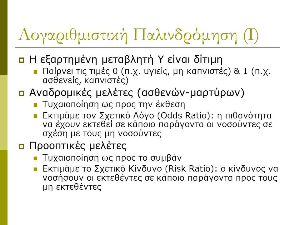 Λογαριθμιστική Παλινδρόμηση (Ι)