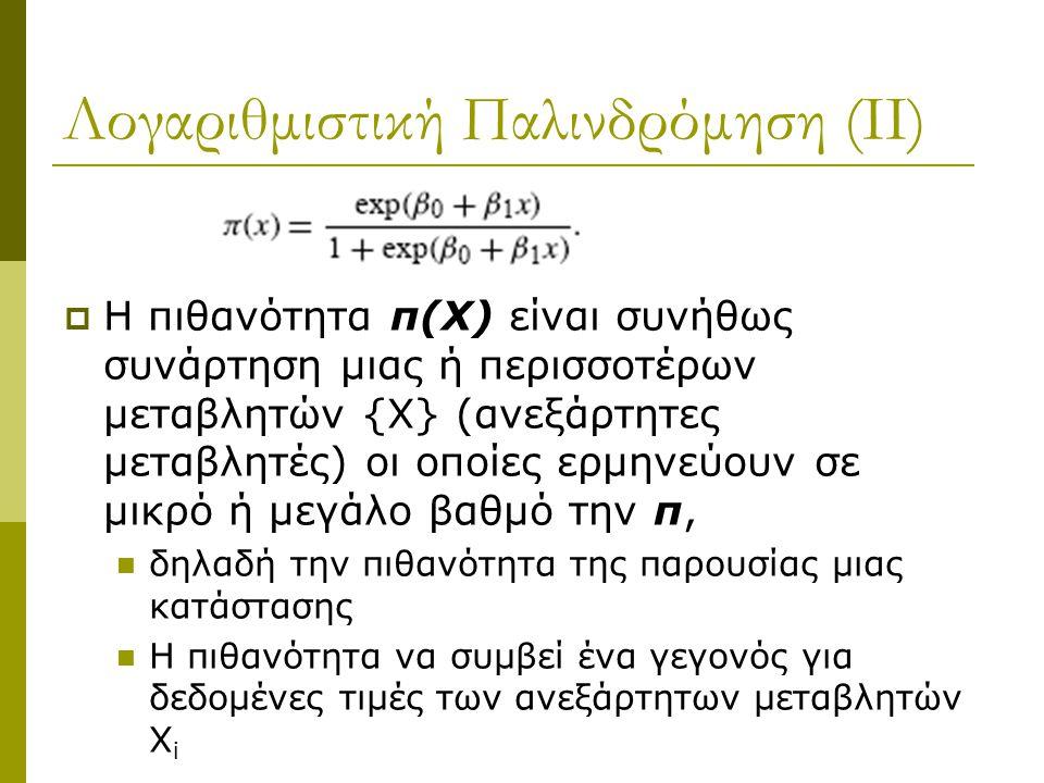 Λογαριθμιστική Παλινδρόμηση (ΙΙ)
