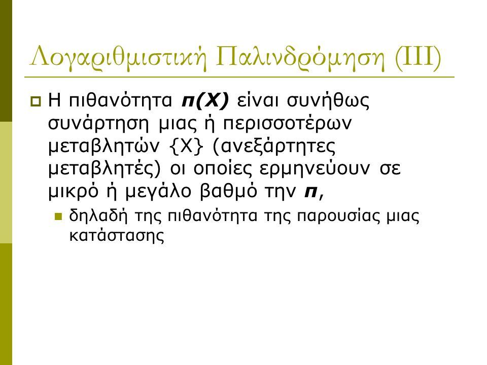 Λογαριθμιστική Παλινδρόμηση (ΙΙΙ)