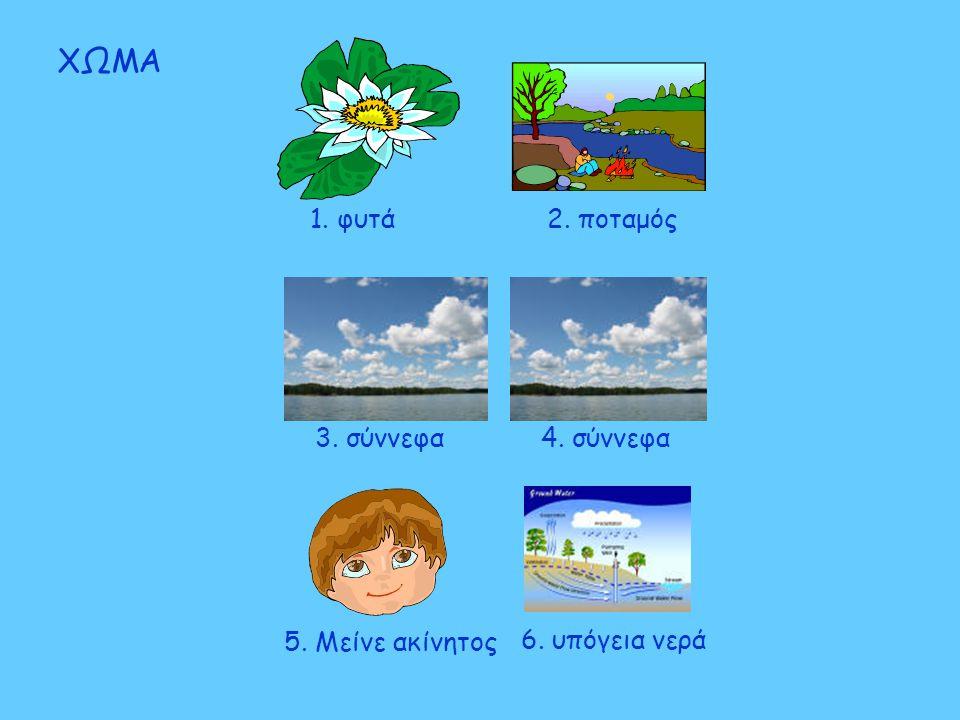 ΧΩΜΑ 1. φυτά 2. ποταμός 3. σύννεφα 4. σύννεφα 5. Μείνε ακίνητος