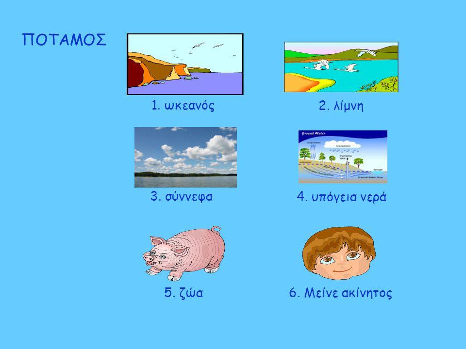 ΠΟΤΑΜΟΣ 1. ωκεανός 2. λίμνη 3. σύννεφα 4. υπόγεια νερά 5. ζώα