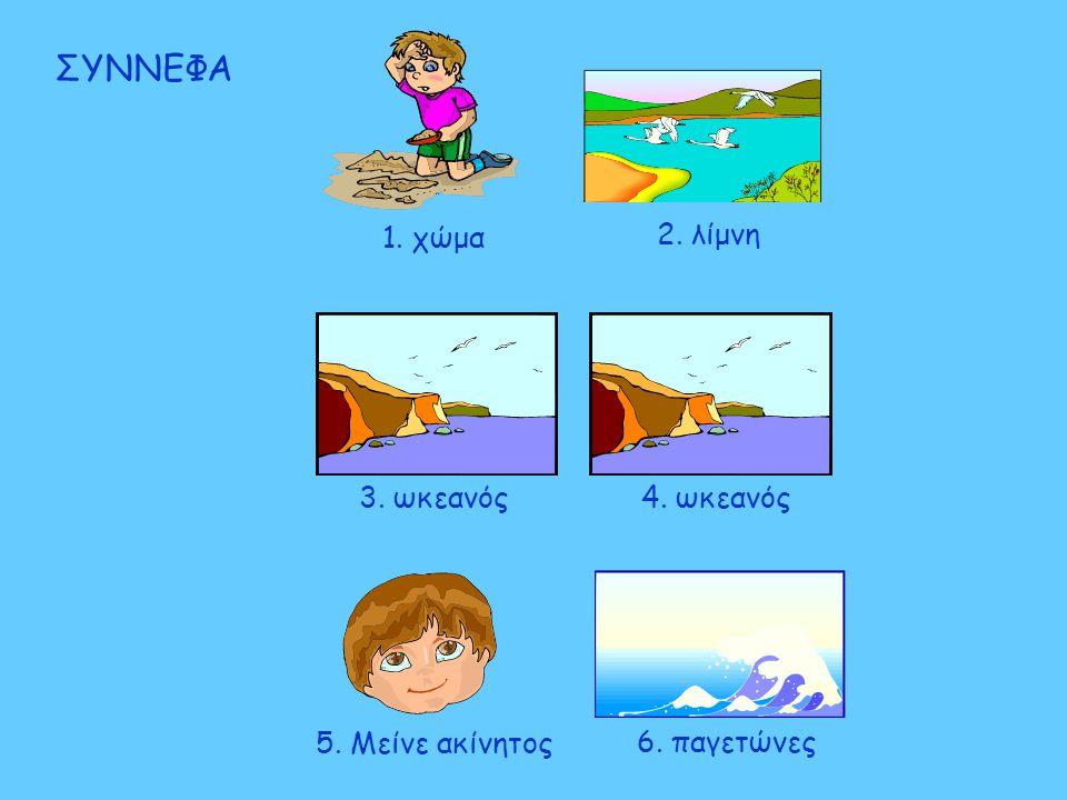ΣΥΝΝΕΦΑ 1. χώμα 2. λίμνη 3. ωκεανός 4. ωκεανός 5. Μείνε ακίνητος