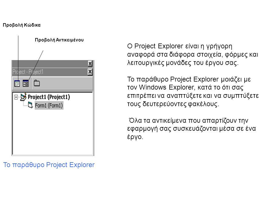 Το παράθυρο Project Explorer