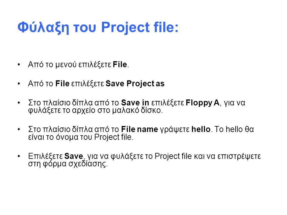 Φύλαξη του Project file: